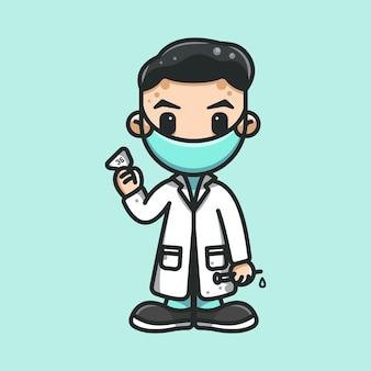 Lekarz sprawdzący temperaturę ciała przed szczepionką