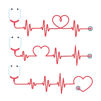 Lekarz stetoskop ma koncepcję czerwonej linii leczenia i ratuje życie.