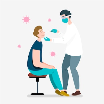Lekarz stosujący test z wymazu z nosa