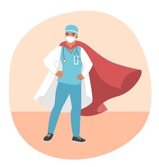 Lekarz superbohater ubrany w medyczną maskę i czerwony płaszcz, płaski. odważny lekarz gotowy do walki z chorobą koronawirusową covid-19.