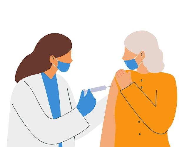 Lekarz szczepienia koronawirusa wstrzykuje pacjentowi ilustrację w płaskim stylu