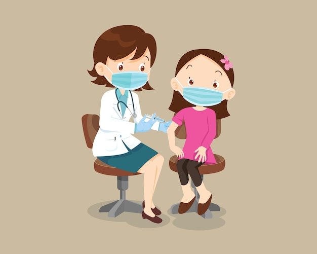Lekarz szczepionka do wstrzykiwań dla dzieci dziewczynka nosząca ochronną maskę medyczną dla zdrowia odporności