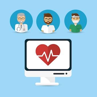 Lekarz szpitalny komputer ikona obrazu
