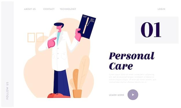 Lekarz traumatolog wskazujący na zdjęcie rentgenowskie ze złamaniem kończyny. opieka zdrowotna, szpital, wizyta lekarza specjalisty. strona docelowa witryny, strona internetowa. ilustracja wektorowa płaski kreskówka