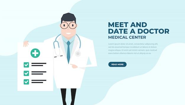 Lekarz trzymając papier do kontroli i wskazując palcem wskazującym.