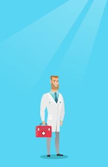 Lekarz trzymając pudełko wektor pierwszej pomocy.