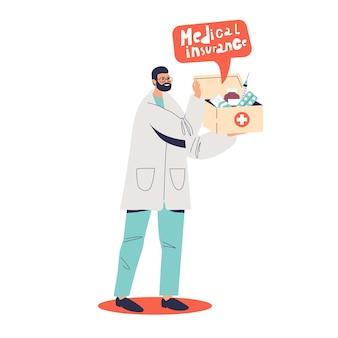Lekarz trzymając pudełko z ilustracją koncepcji ubezpieczenia zdrowotnego