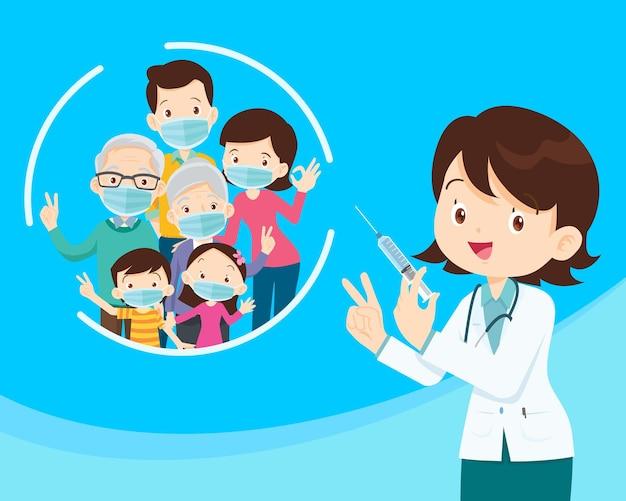 Lekarz trzymający strzykawkę ze szczepionką covid i rodzina nosząca ochronną maskę medyczną