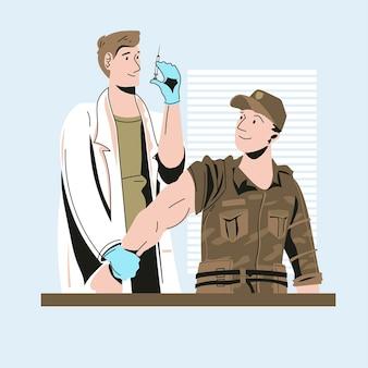 Lekarz ubrany w maskę medyczną robi wstrzyknięcie szczepionki wirusowej pacjentowi żołnierzowi