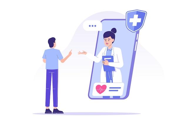 Lekarz udzielający porad pacjentowi online