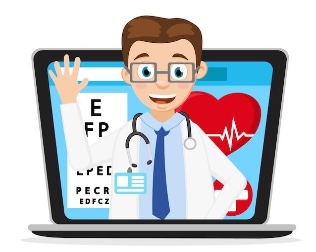 Lekarz uśmiecha się i macha z monitora laptopa. komunikacja przez internet.