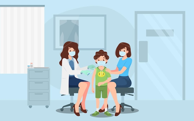 Lekarz w klinice podający chłopcu szczepionkę na koronawirusa