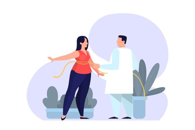Lekarz w klinice pomiaru talii kobiety. postać kobieca w centrum medycyny. ilustracja