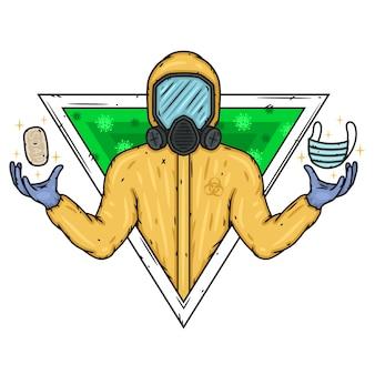 Lekarz w kombinezonie ochrony biologicznej z mydłem i maską medyczną.