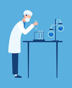 Lekarz w laboratorium szpitala naukowego. biolog przeprowadza eksperymenty w laboratorium klinicznym, tworząc nowe leki i szczepionki, kreskówka płaskie wektory, koncepcję innowacji w dziedzinie chemii i farmacji