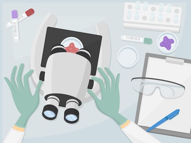 Lekarz w laboratoryjnym miejscu pracy biurko top angle design. szpital komputer laptop. ilustracja płaska sztuka.