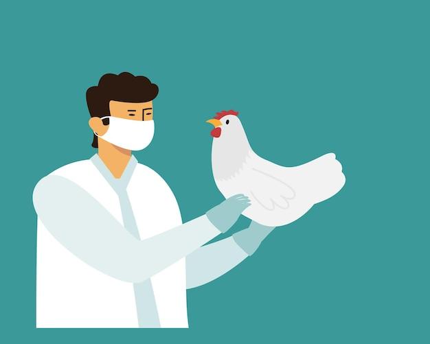 Lekarz w masce medycznej trzymać kurczaka w dłoniach.