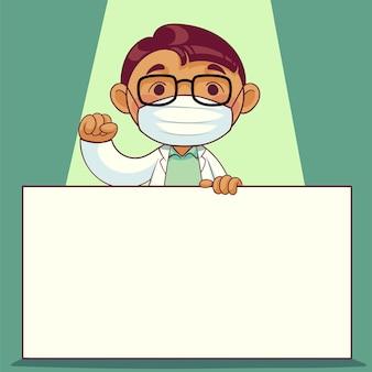 Lekarz w masce medycznej z postacią z kreskówki etykiety tablicy. personel medyczny związany z epidemią covid-19. ilustracja.