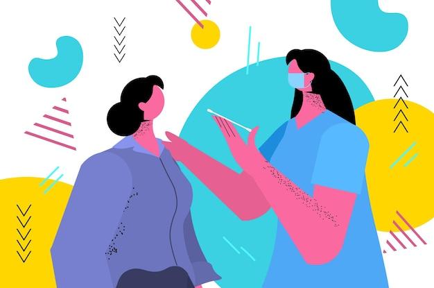 Lekarz W Masce Pobierający Wymaz Na Próbkę Koronawirusa Od Kobiety Pacjenta Procedura Diagnostyczna Pcr Covid-19 Pandemia Premium Wektorów