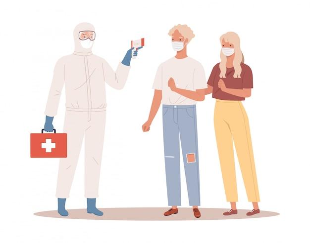Lekarz w stroju ochronnym mierzy temperaturę mężczyzny i kobiety w masce medycznej. koncepcja ochrony koronawirusa. ilustracja w stylu płaskiej