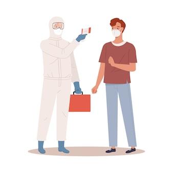 Lekarz w stroju ochronnym mierzy temperaturę mężczyzny w masce medycznej. koncepcja ochrony koronawirusa. ilustracja w stylu płaskiej