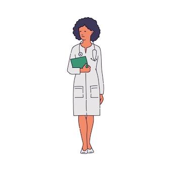Lekarz w szkic postaci kobiety biały szlafrok medyczny