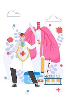Lekarz walczy z ilustracji wektorowych covid-19