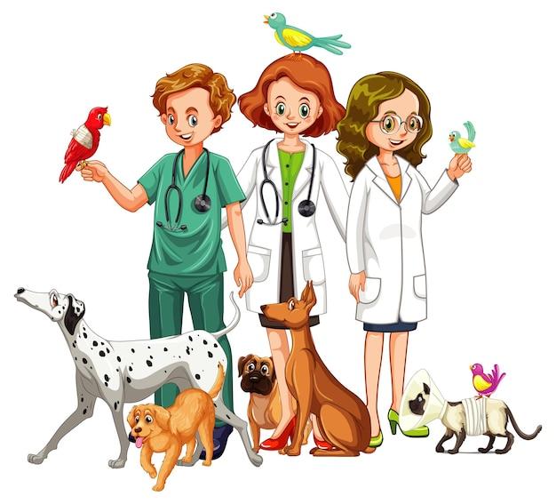 Lekarz weterynarii z wieloma rodzajami zwierząt