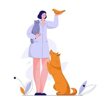 Lekarz weterynarii ze zwierzętami kot pies ptak. ilustracja wektorowa w stylu płaski.