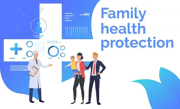 Lekarz wizytujący rodzinę w ośrodku zdrowia