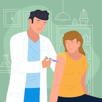 Lekarz wstrzykuje szczepionkę pacjentowi