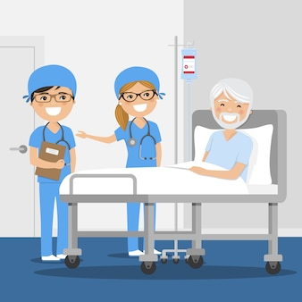 Lekarz wyjaśnia diagnozę do jego męskiego pacjenta w szpitalu