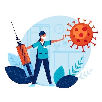 Lekarz z dużą strzykawką i szczepionką zapobiega rozprzestrzenianiu się strasznego koronawirusa.
