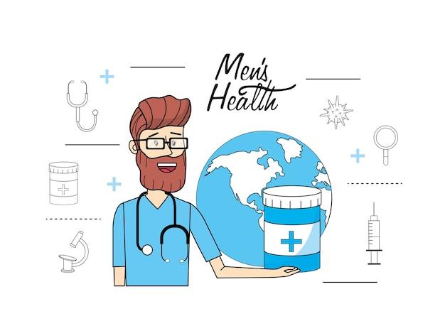 Lekarz Z Globalnej Planety Do Zdrowia Mężczyzn Premium Wektorów