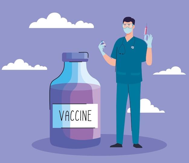 Lekarz z ikoną covid19 butelki szczepionki