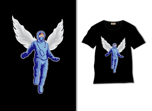 Lekarz z ilustracją skrzydeł z projektem koszulki
