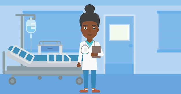 Lekarz z kartoteką w biurze medycznym.