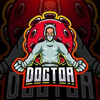 Lekarz z logo maskotki esport wirusa koronowego