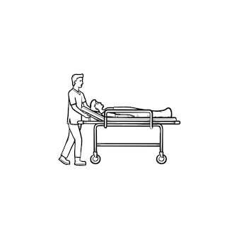 Lekarz z nosze ręcznie rysowane konspektu doodle ikona. sanitariusz niosący rannego mężczyznę na noszach medycznych