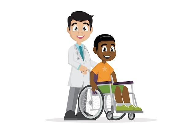 Lekarz z pacjentem na wózku inwalidzkim.