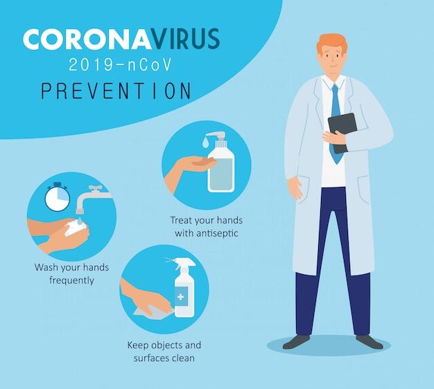 Lekarz z profilaktyką koronawirusa 2019 ncov