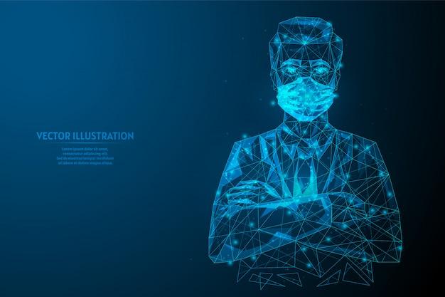 Lekarz z przodu nosi maskę medyczną ze skrzyżowanymi rękami. szpitalny pracownika medycznego zakończenie. kontrola zakażeń koronawirusem covid-19. innowacyjna medycyna. 3d model szkieletowy low poly ilustracja.