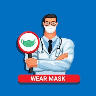 Lekarz z symbolem noszenia maski na ilustracji kreskówka