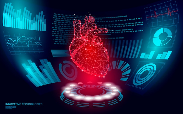 Lekarz z wyświetlaczem 3d hud o niskim poli ludzkim online. badanie sieci laboratorium technologii medycznych przyszłości. diagnostyka chorób układu krwionośnego futurystyczny interfejs użytkownika ilustracja