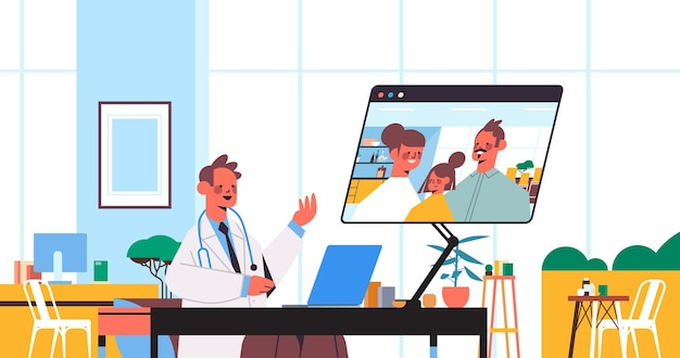 Lekarz za pomocą laptopa konsultując się z pacjentami rodzinnymi podczas rozmowy wideo konsultacje online opieka zdrowotna medycyna porady medyczne koncepcja wnętrze biura szpitalnego poziome