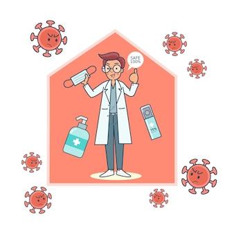 Lekarz zaleca, jak używać rękawiczek, masek i środka odkażającego do rąk, aby zapobiec infekcji