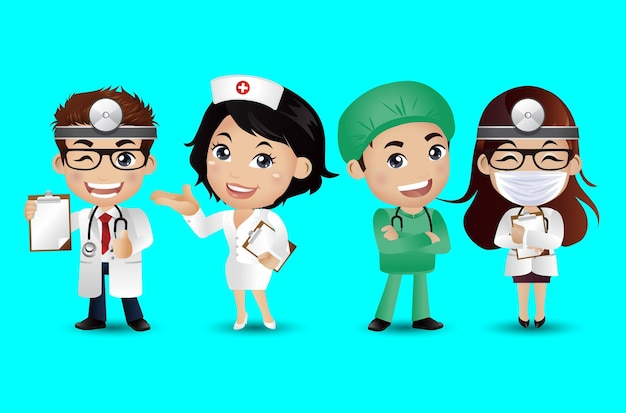 Lekarz zawodu o różnych pozach