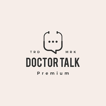 Lekarz zdrowie rozmowa bańka czat hipster vintage logo ikona ilustracja