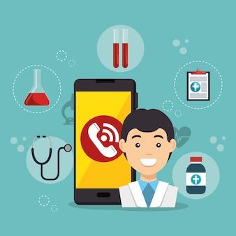 Lekarz ze smartfonem aplikacja usług medycznych