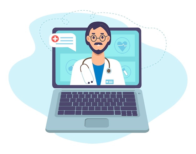 Lekarz Ze Stetoskopem Na Ekranie Laptopa Konsultacja Medyczna Online I Wsparcie Online Premium Wektorów